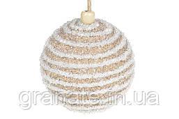 Елочый шар 8см, цвет - карамельный с белым (16шт)