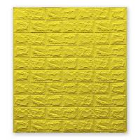 Декоративні стінові панелі з ПВХ під цеглу Жовтий 70х77см