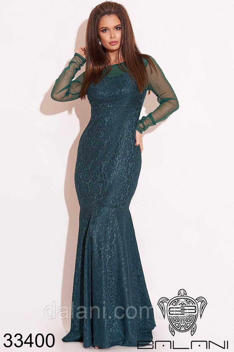 Вечернее бутылочное гипюровое платье в пол