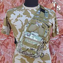 Універсальна тактична сумка-рюкзак через плече повсякденна H&S Tactic Bag 600D мультікам