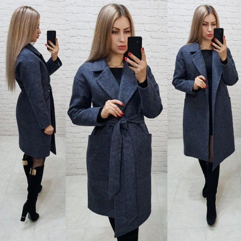 Элегантное женское пальто демисезонное кашемировое под пояс на синтепоне С М Л Хл