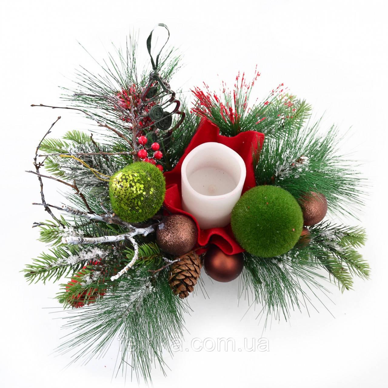 """Новогодняя композиция """"Карпатский звон"""",  Ø 50 см"""