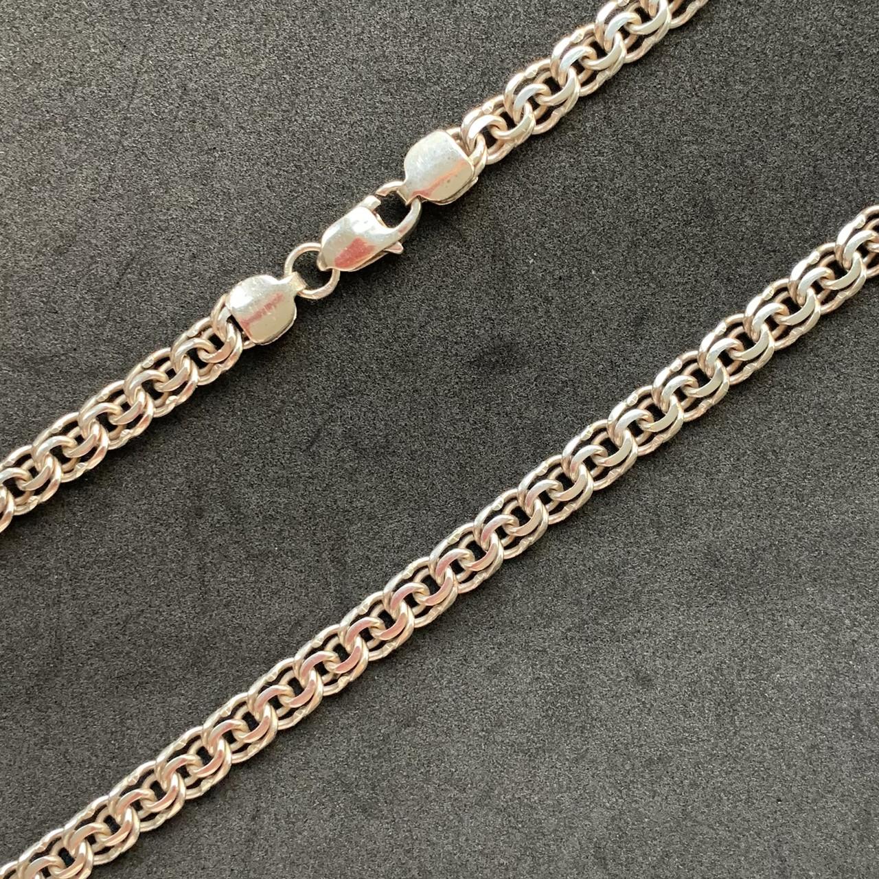 Серебряная цепочка Б/У 925 пробы, плетение Бисмарк, длина 56 см, вес 37,04 г. Серебро из ломбарда