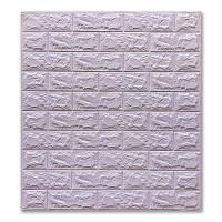 Самоклеящиеся декоративные 3D панели для стен под кирпич Светло-фиолетовый 700х770х7мм