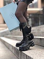 Ботинки Прада с карманами черные высокие кожаные сапоги Monolith Prada /39-40размер/