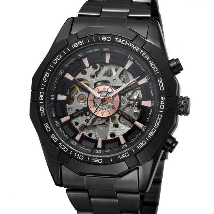 Механические часы с автоподзаводом Forsining Timi Black - гарантия 12 месяцев