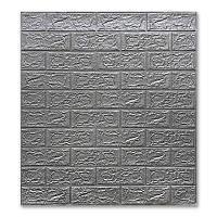 3D панели для стен под кирпич Серебро 700х770х5мм
