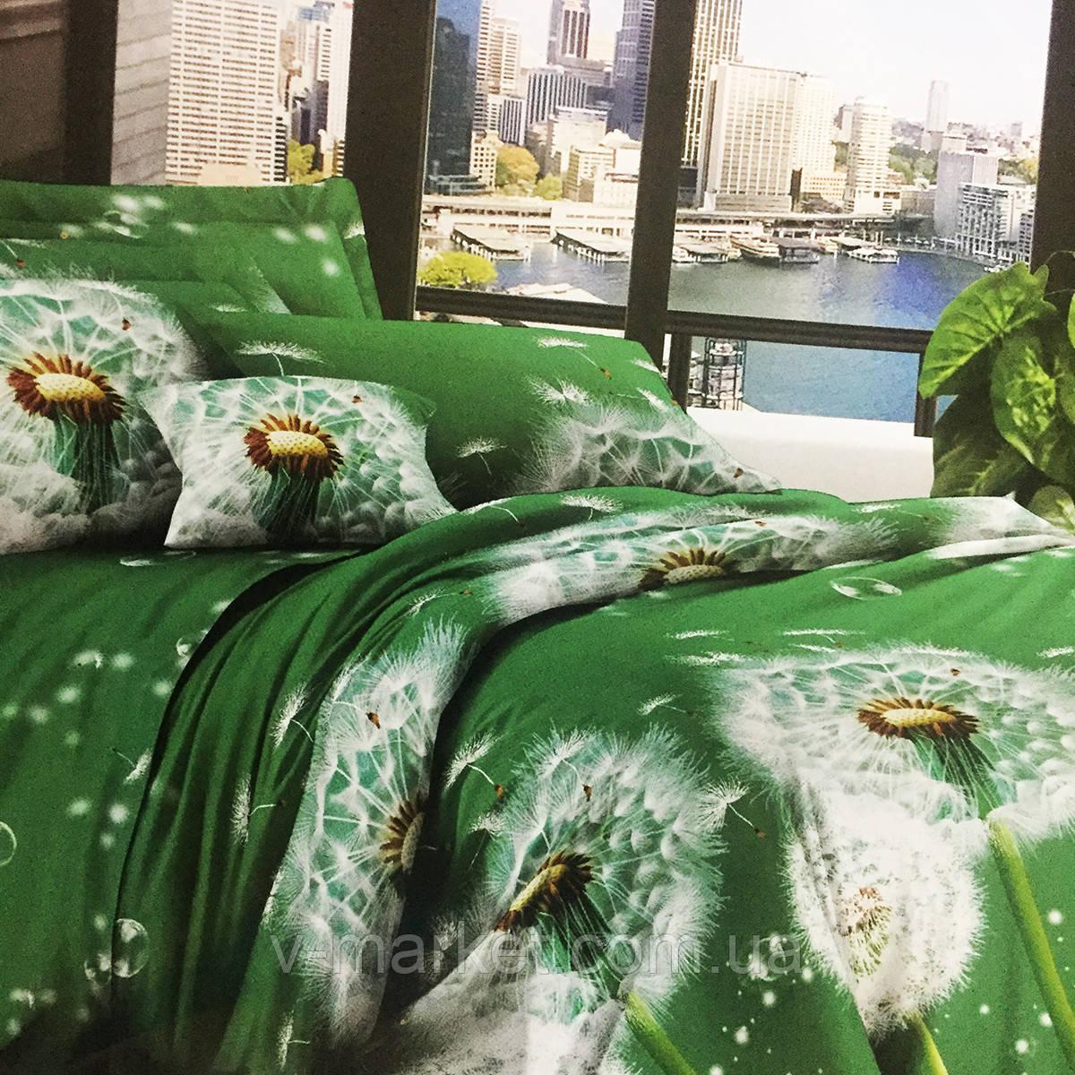 """Постельное белье зеленое """"Одуванчик"""" бязевое евро размер 190/210, нав-ки 70/70, ткань бязь"""