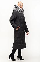 Стильный пуховик с натуральным мехом песец в большом размере Украина Размеры: 46.48.50.52.54.56, фото 2