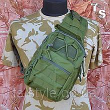 Універсальна тактична сумка-рюкзак через плече повсякденна H&S Tactic Bag 600D олива