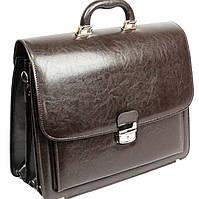 Мужской портфель из эко кожи 3 отдела, Jurom Польша 0-33-112 коричневый