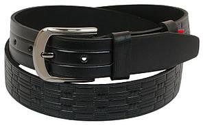 Мужской кожаный ремень под джинсы Skipper 1093-38 черный ДхШ: 129х3,8 см.