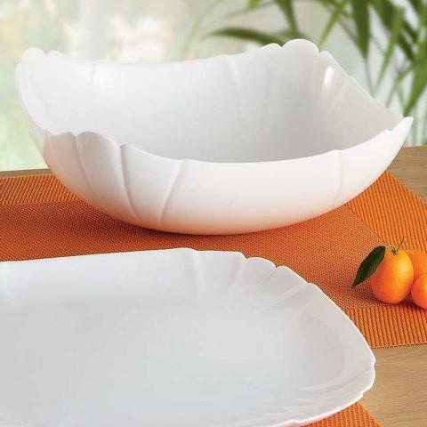 Большой квадратный салатник из белой стеклокерамики Luminarc Lotusia 250 мм (H1396)