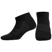 Носки спортивные короткие для спортивной обуви баскетбола Zelart Хлопок Размер 40 - 45 Черный (JCB3001)