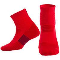 Носки спортивные длинные для спортивной обуви баскетбола Zelart Хлопок Размер 40 - 45 Красный (JCB3306)