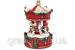 Декоративная фигура с заводным механизмом и музыкой Новогодняя Карусель, 17см
