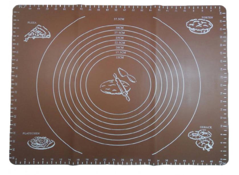 Силиконовый коврик A-PLUS для выпечки и раскатки теста 28*38 см коричневый (KG-861)