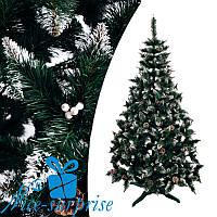 Штучна РІЗДВЯНА ялинка з білими кінчиками, шишками і калиною білої 200 см, фото 1