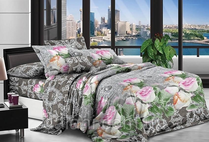 Двуспальный комплект постельного белья из поликоттона 3D Цветы