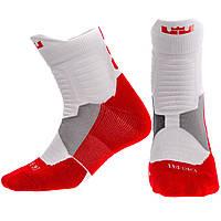Носки спортивные длинные для спортивной обуви баскетбола Zelart Хлопок Размер 40 - 45 Белый-красный (JCB3302)