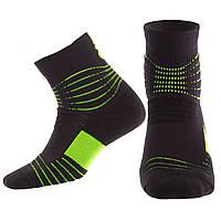 Носки спортивные длинные для спортивной обуви баскетбола Zelart Хлопок Размер 40 - 45 Черный-зеленый (JCB3306)