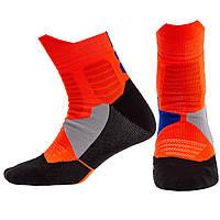 Носки спортивные длинные для спортивной обуви баскетбола Zelart Хлопок Размер 40 - 45 Оранжевый (DML7300-7501)