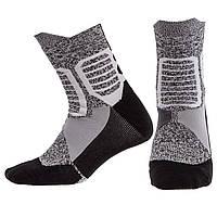 Носки спортивные длинные для спортивной обуви баскетбола Zelart Хлопок Размер 40 - 45 Серый (DML7300-7501)