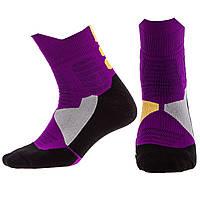 Носки спортивные длинные для спортивной обуви баскетбола Zelart Хлопок Размер 40 - 45 Фиолетовый (DML7300-7501