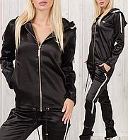 Спортивный костюм женский турецкий атласный стильный № 3801 чёрный