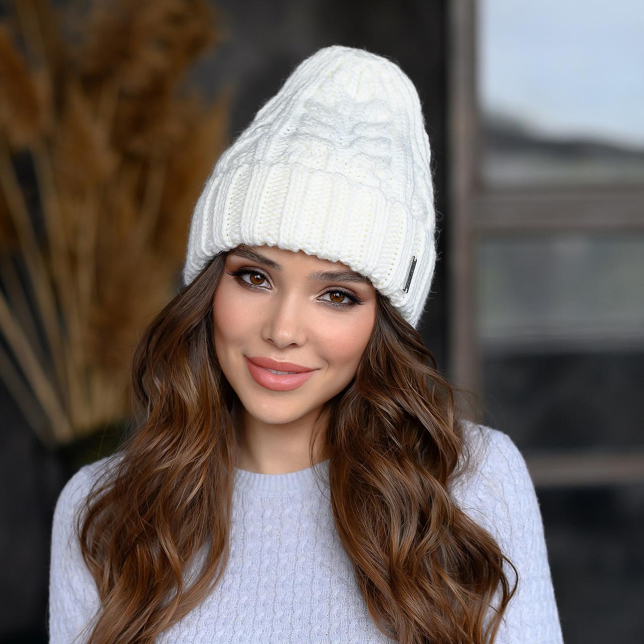 Вязанная шапка Милания цвет белый