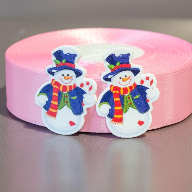 Кабошон-серединка Снеговик в шляпе