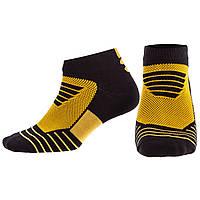 Носки спортивные короткие для спортивной обуви баскетбола Zelart Хлопок Размер 40 - 45 Черный-желтый (DML7001)