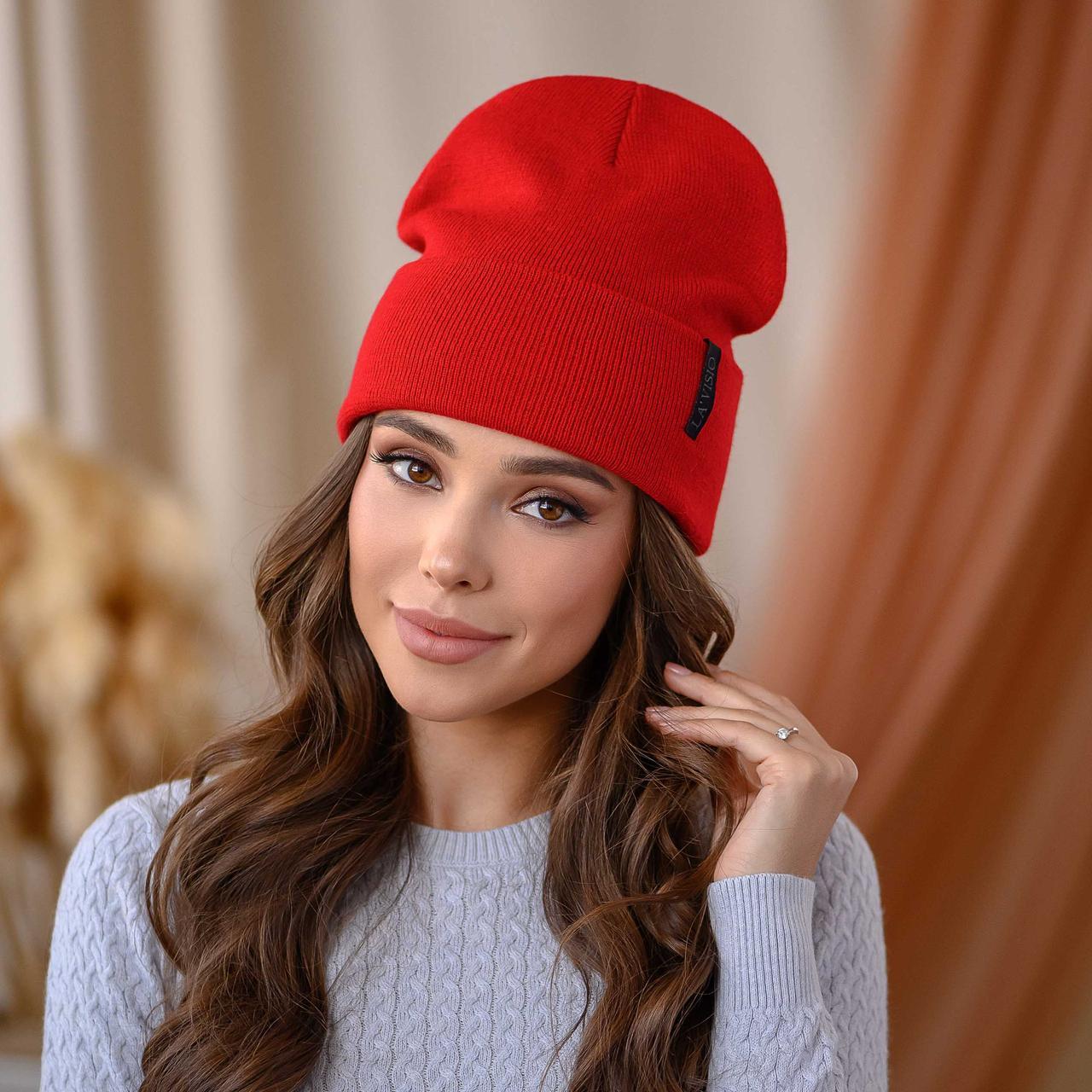 """Вязанная шапка """"Крио"""" цвет-красный"""