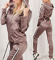 Спортивный костюм женский турецкий атласный стильный № 3801 бисквит