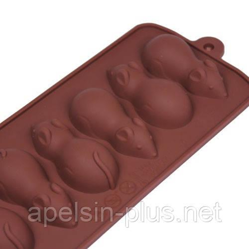 Силиконовая форма для шоколада Мышки на 6 ячеек