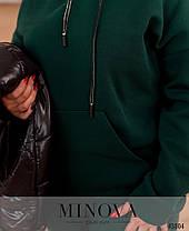 Женский тёплый спортивный костюм 3-ка  бордовый со стёганной  жилеткой с 50 по 64 размер, фото 3
