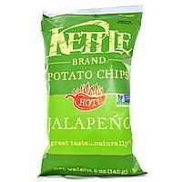 ОРИГІНАЛ!Kettle Foods,Картопляні чіпси,гострі халапеньо 142 грам виробництва США