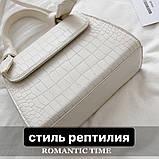 Женская квадратная сумочка на ремешке рептилия белая, фото 3