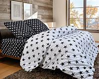 Качественное семейное постельное белье , черно-белые звезды