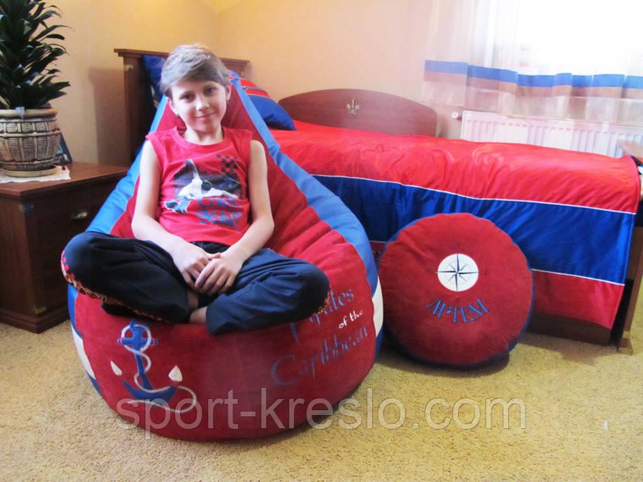 Бескаркасное кресло детское мешок пуф МОРЕ мебель мягкая