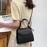Женская квадратная сумочка кроссбоди на ремешке рептилия черная, фото 2