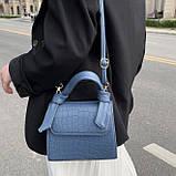Женская квадратная сумочка кроссбоди на ремешке рептилия синяя голубая, фото 4