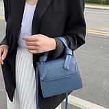 Женская квадратная сумочка кроссбоди на ремешке рептилия синяя голубая, фото 5
