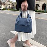 Женская квадратная сумочка кроссбоди на ремешке рептилия синяя голубая, фото 8