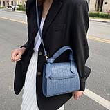 Женская квадратная сумочка кроссбоди на ремешке рептилия синяя голубая, фото 7