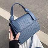 Женская квадратная сумочка кроссбоди на ремешке рептилия синяя голубая, фото 10