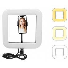 Квадратная LED лампа Ukc с гибким держателем телефона селфи D35 28 см (DL 221852641)