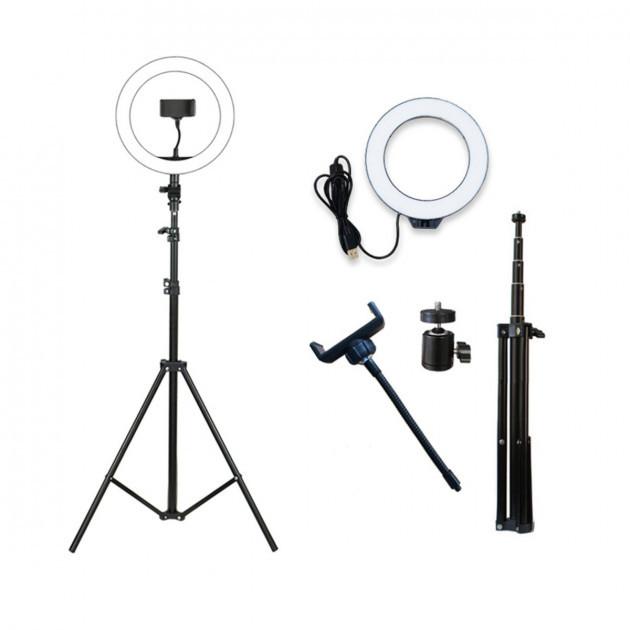 Набор блогера кольцевая LED лампа 26 см с держателем телефона и штативом 2.1 м hm