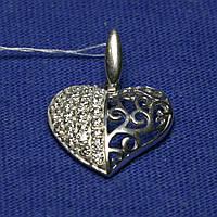 Серебряный кулон в виде Сердца с цирконием 3162
