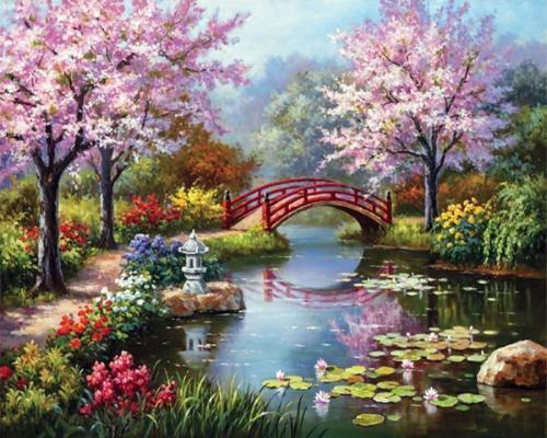 Картина рисование по номерам Чарівний діамант Райское озеро РКДИ-0209 40х50см набор для росписи, краски,
